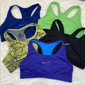 Nike DryFit Sports Bras x 5